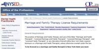 NY Marriage and Family Therapy License Requirements